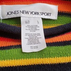 Jones New York Sweaters - Rainbow Patchwork Cotton Blend Sweater